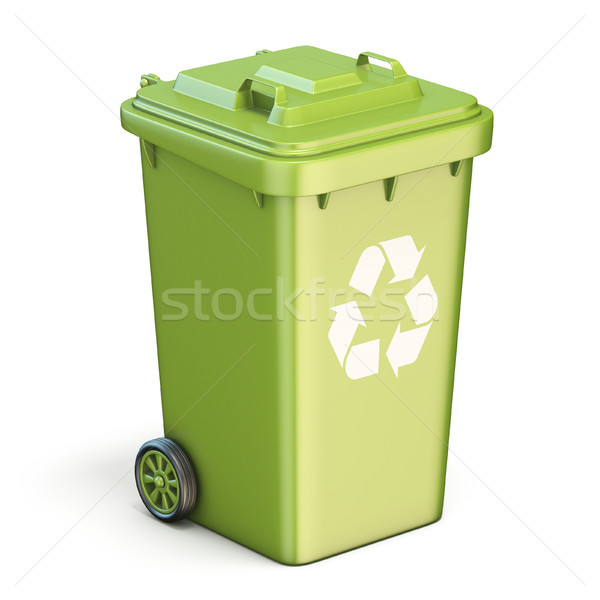 Green plastic recycle bin closed 3D Stock photo © djmilic