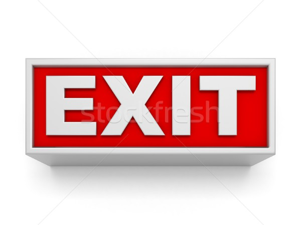 Exit sign weiß Wand 3D gerendert Illustration Stock foto © djmilic