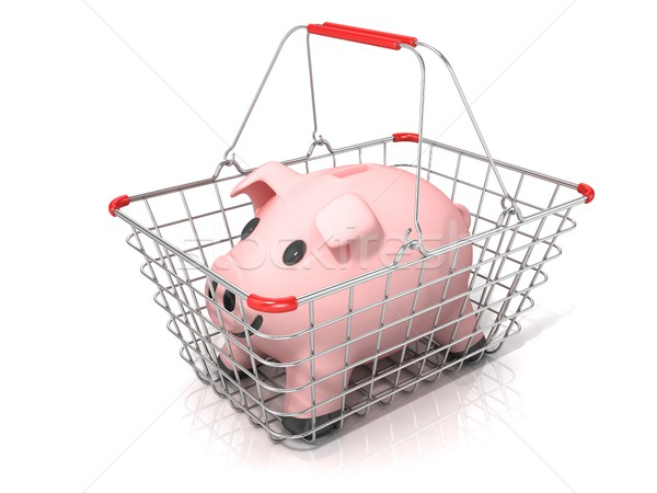 Stock photo: Piggy bank money box standing in steel wire shopping basket