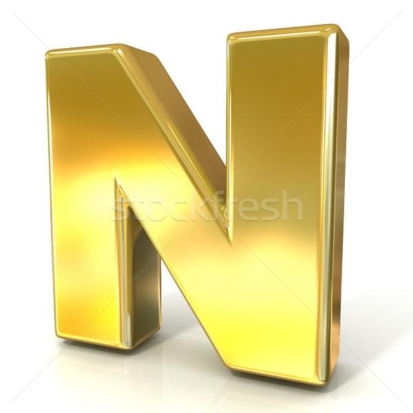 Golden font collection letter - N. 3D Stock photo © djmilic