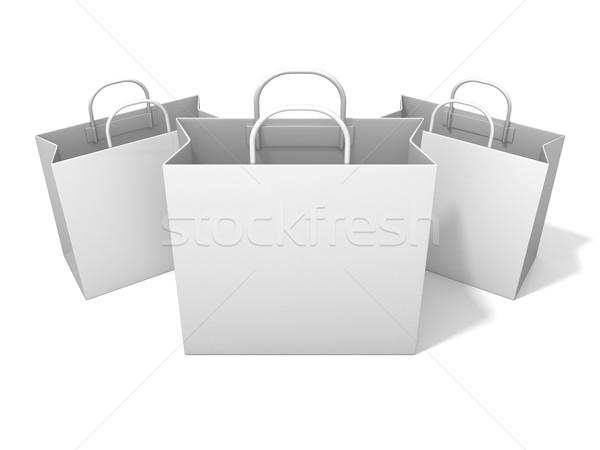 Három üres vásárlás papírzacskó izolált fehér Stock fotó © djmilic