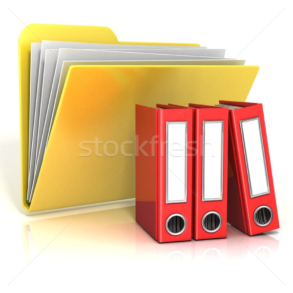 Folder icon with red ring binders. 3D Stock photo © djmilic