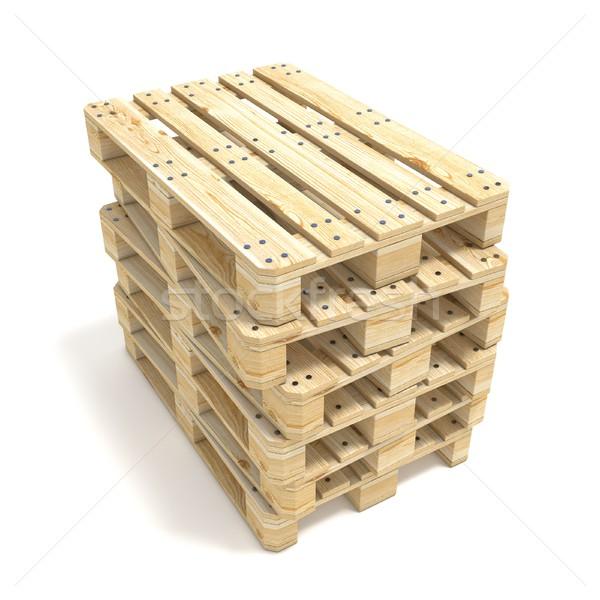 Wooden Euro pallets. 3D Stock photo © djmilic