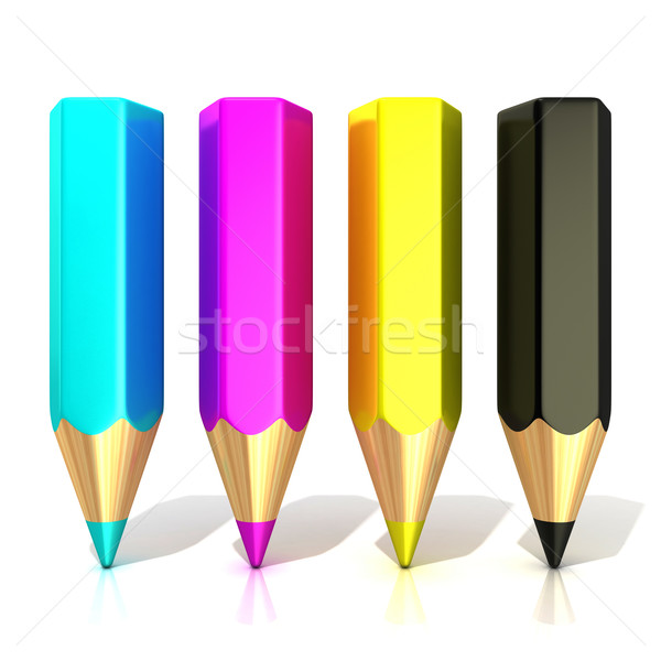 CMYK color pencils (cyan, magenta, yellow and black), isolated o Stock photo © djmilic
