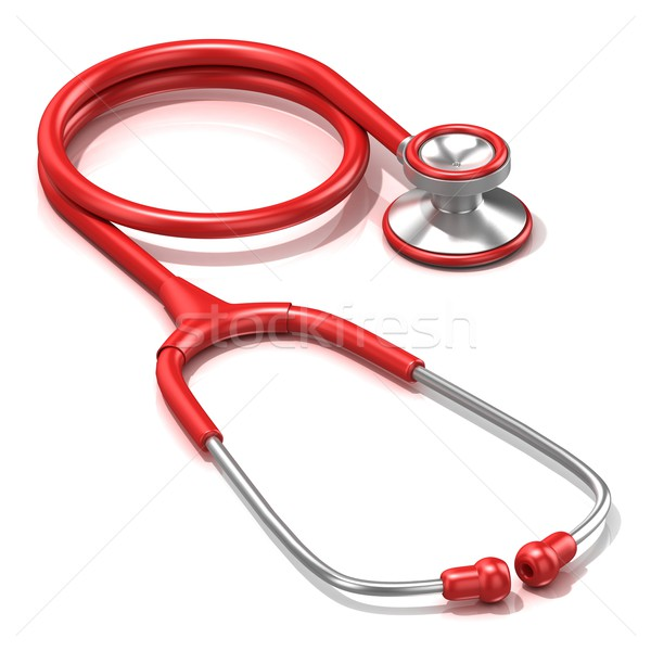 Red stethoscope, 3D Stock photo © djmilic