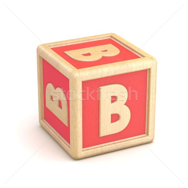 Letter B wooden alphabet blocks font rotated. 3D Stock photo © djmilic
