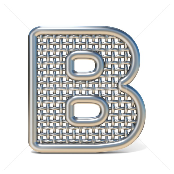 Outlined metal wire mesh font LETTER B 3D Stock photo © djmilic