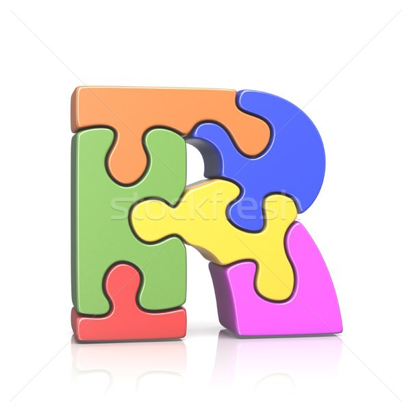 Puzzle jigsaw letter R 3D Stock photo © djmilic