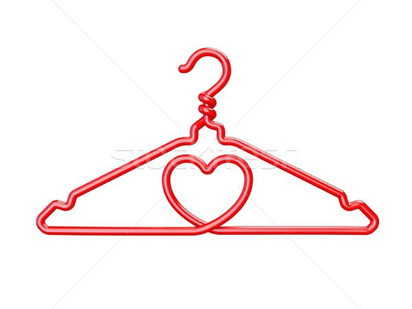 Red wire clothes hangers heart shaped 3D Stock photo © djmilic