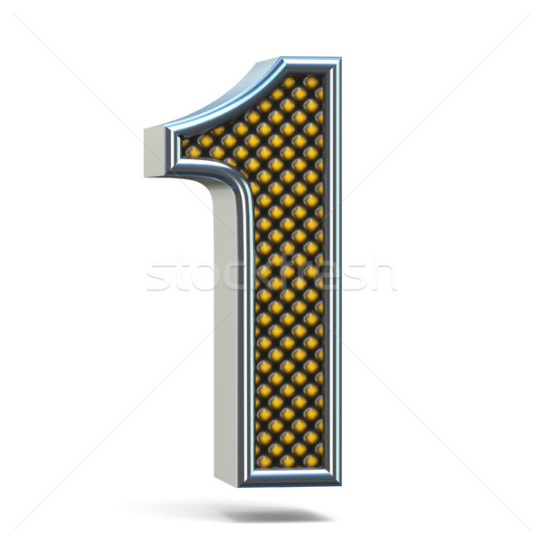 Chrome metal orange dotted font Number ONE 1 3D Stock photo © djmilic