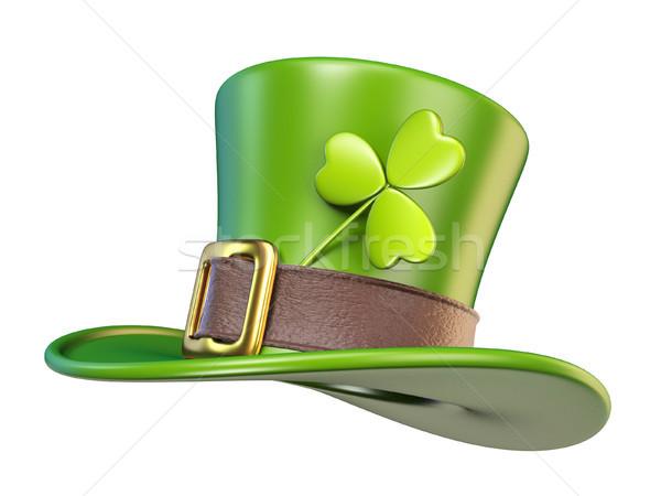 綠色 聖帕特里克節 帽子 三葉草 側面圖 3D 商業照片 © djmilic