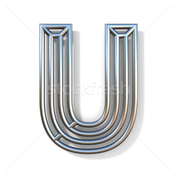 Wire outline font letter U 3D Stock photo © djmilic