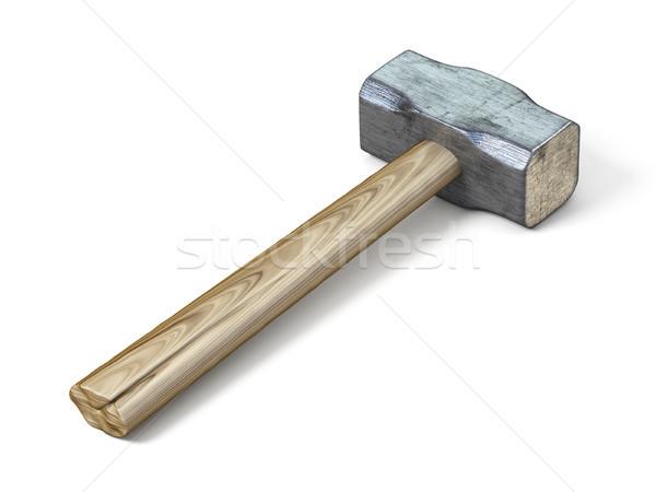 Metal sledge hammer 3D rendering illustration on white backgroun Stock photo © djmilic