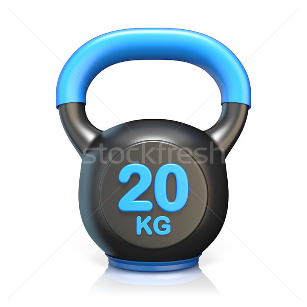 Blue 20 kg kettle bell 3D render Stock photo © djmilic