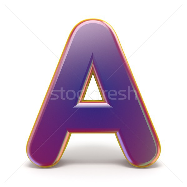 Letter A purple font yellow outlined 3D Stock photo © djmilic