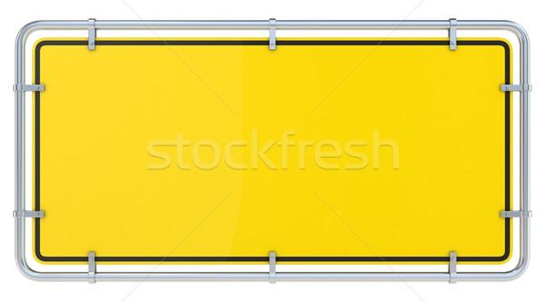 Blank framed warning sign. 3D Stock photo © djmilic