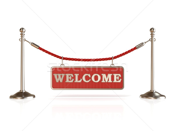 Velvet rope barrier, with WELCOME sign. 3D Stock photo © djmilic