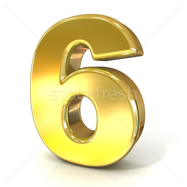 Numerical digits collection, 6 - SIX. 3D golden sign Stock photo © djmilic