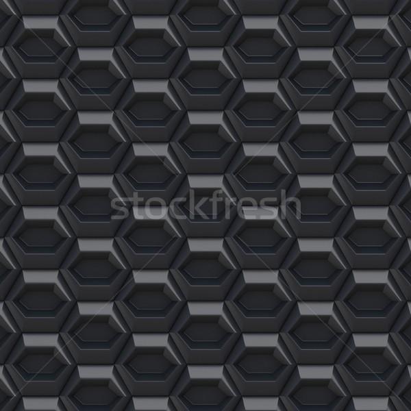 Black abstract hexagonal background. 3D Stock photo © djmilic