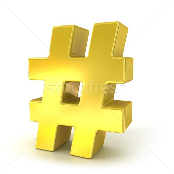 Hashtag, number mark 3D golden sign Stock photo © djmilic
