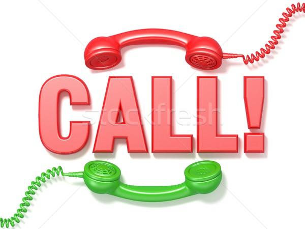 Stockfoto: Oproep · teken · retro · Rood · groene · telefoon