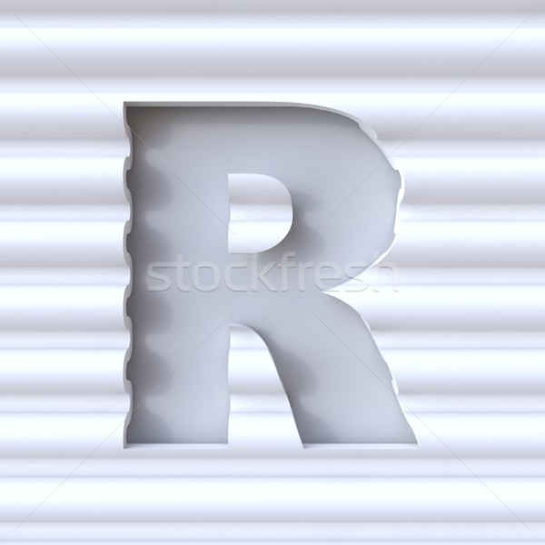 Cut out font in wave surface LETTER R 3D Stock photo © djmilic