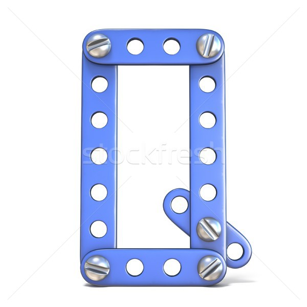 Alphabet made of blue metal constructor toy Letter Q 3D Stock photo © djmilic