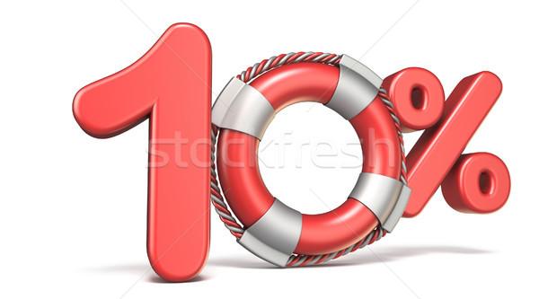 Life buoy 10 percent sign 3D Stock photo © djmilic