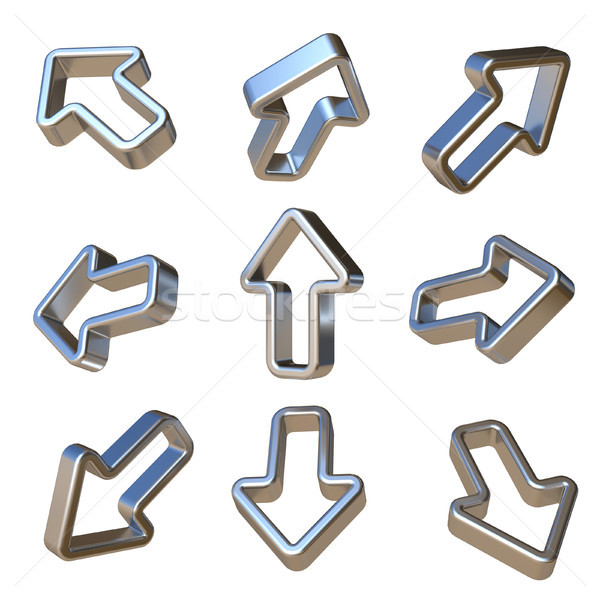 Metal dimensional arrows 3D Stock photo © djmilic