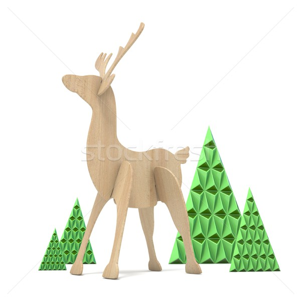 Wooden reindeer and abstract triangulated trees. 3D Stock photo © djmilic