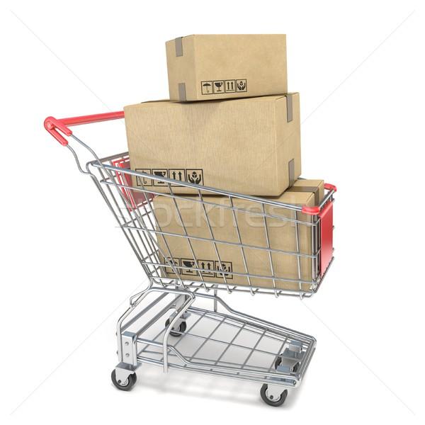 Stockfoto: Winkelwagen · dozen · 3D · 3d · render · illustratie · geïsoleerd