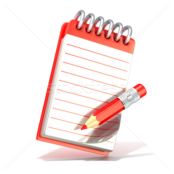 Red pencil and notepad. 3D Stock photo © djmilic