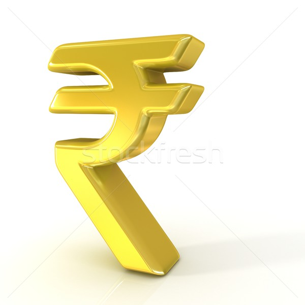 Indian rupee 3D golden sign Stock photo © djmilic