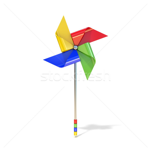 Pinwheel toy, four sided, differently colored vanes. 3D Stock photo © djmilic