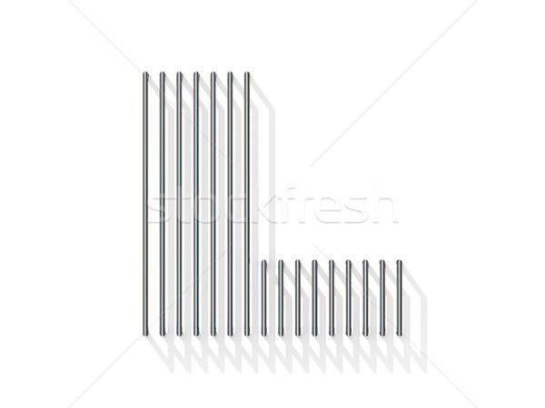 Argento acciaio filo carattere lettera l verticale Foto d'archivio © djmilic