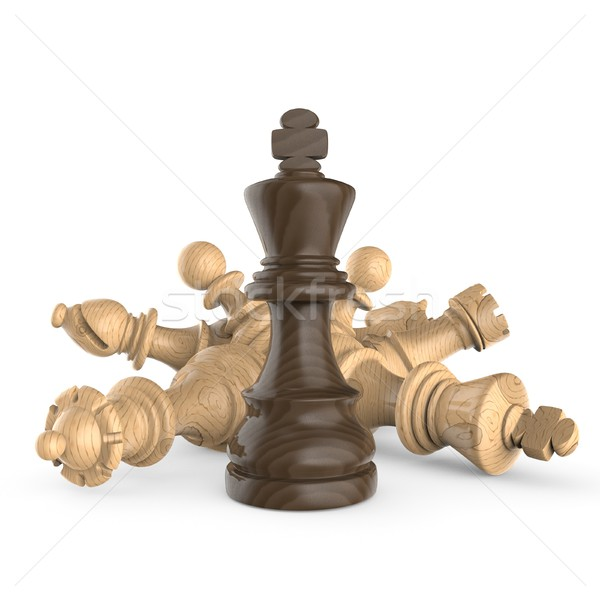 Black wooden king standing over fallen wooden white chess pieces Stock photo © djmilic