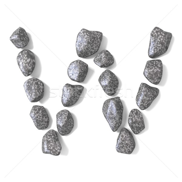 Font made of rocks LETTER W 3D Stock photo © djmilic
