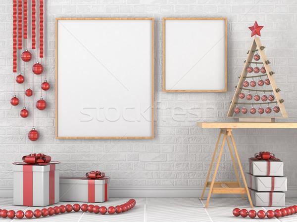 Up bois cadre photo Noël décoration cadeaux Photo stock © djmilic