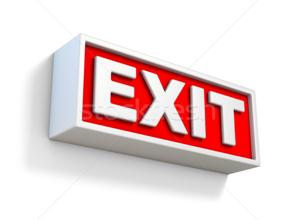 Red EXIT sign on white wall 3D Stock photo © djmilic