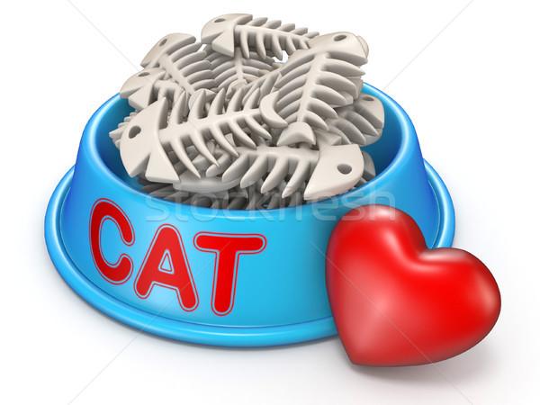 Macska étel tál piros szív 3D Stock fotó © djmilic
