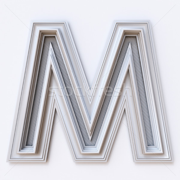 White picture frame font Letter M 3D Stock photo © djmilic