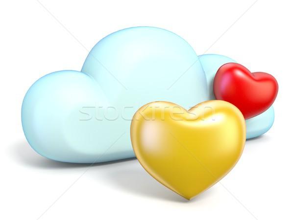 Chmura icon serca 3D odizolowany biały Zdjęcia stock © djmilic