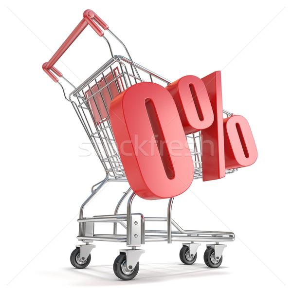 Nulla százalék árengedmény bevásárlókocsi vásár 3d render Stock fotó © djmilic