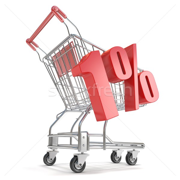 1% - one percent discount in front of shopping cart. Sale concep Stock photo © djmilic