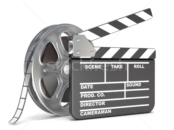 Film reel and movie clapper board. Video icon. 3D Stock photo © djmilic