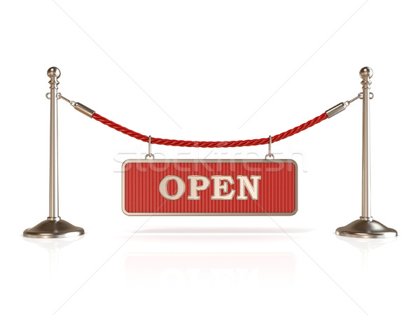 Velvet rope barrier, with OPEN sign. 3D Stock photo © djmilic