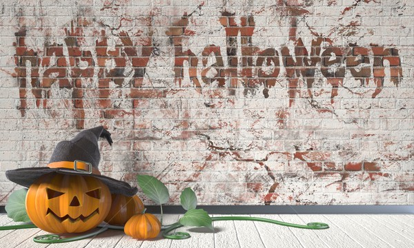 Happy Halloween greeting with Jack O Lantern pumpkin and green l Stock photo © djmilic