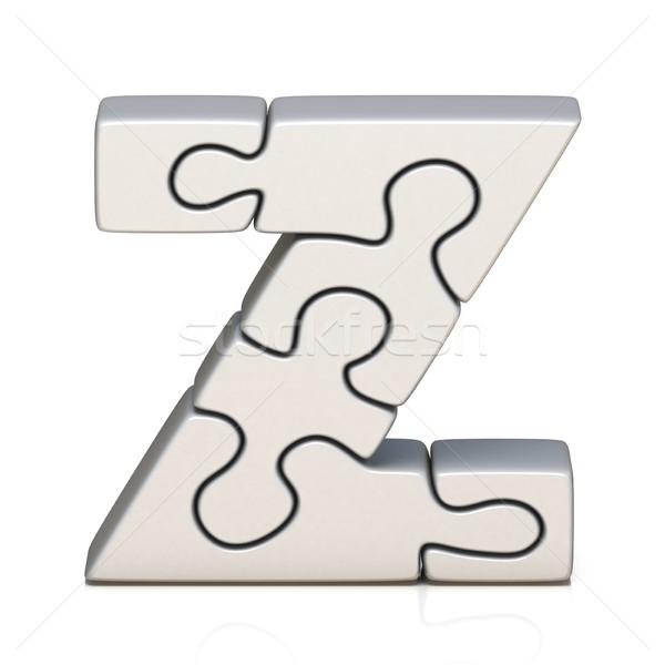 White puzzle jigsaw letter Z 3D Stock photo © djmilic