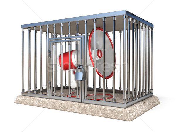 Megaphone inside metal cage 3D render illustration on white back Stock photo © djmilic