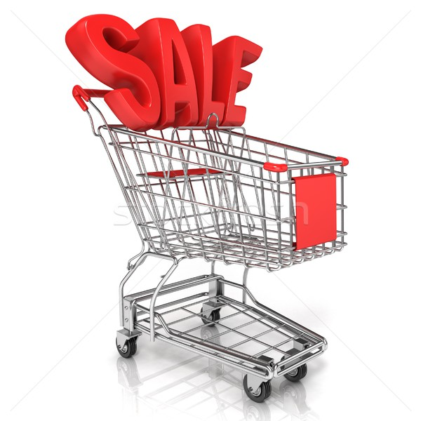 Red shopping cart with sale sign Stock photo © djmilic